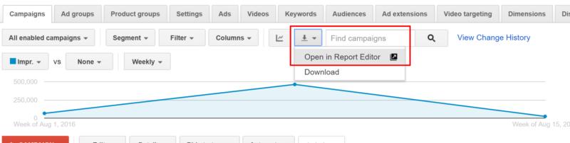 В Google AdWords додали кнопку швидкого експорту звіту в Редактор